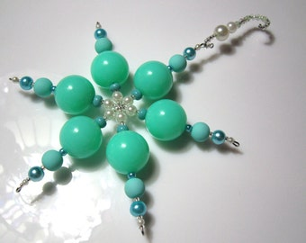 Beaded Snowflake Ornament - Winter Wonderland Teal Blue with Pearls