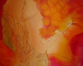 Painting on silk Original Artwork Woman Kiss Love Fragrance Exclusive gift Hand Painted Silk