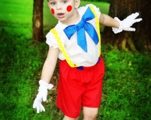 Boutique custom handmade pageant girls or boys Pinocchio Storybook Costume, Pinocchio costume, Pinocchio hat, Pinocchio girls