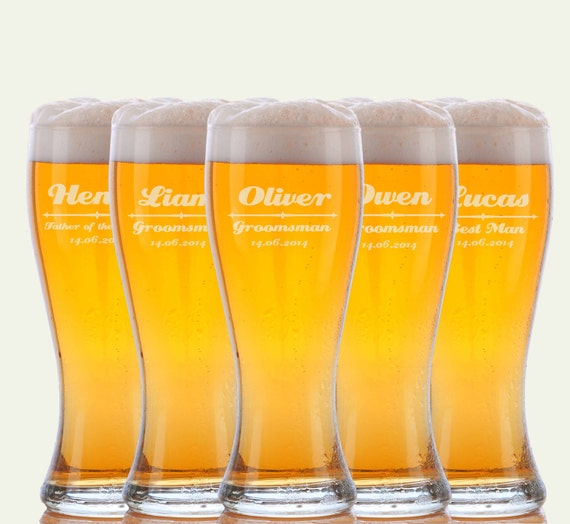Engraved Wedding Beer Glasses : ... Beer Glasses, Glasses, Custom Engraved Pilsner Glass, Wedding Party