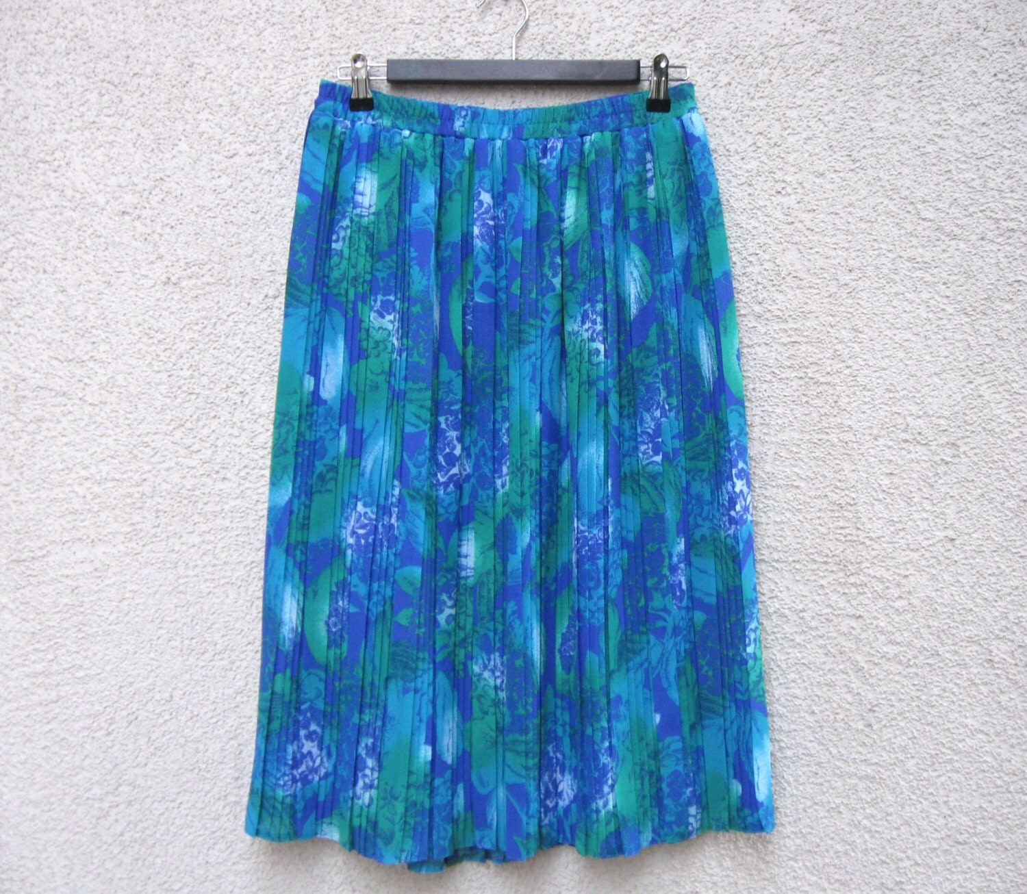 turquoise blue green skirt accordion pleated by