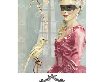 Before the Ball, woman with bird, everyday card, birthday card, Marie Antoinette inspired, blank Greeting card by Wickedly Lovely