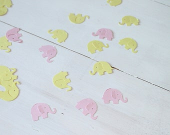 Elephant Confetti- Light Pink and Yellow Elephant Confetti- Baby Shower Decor, Party Decor