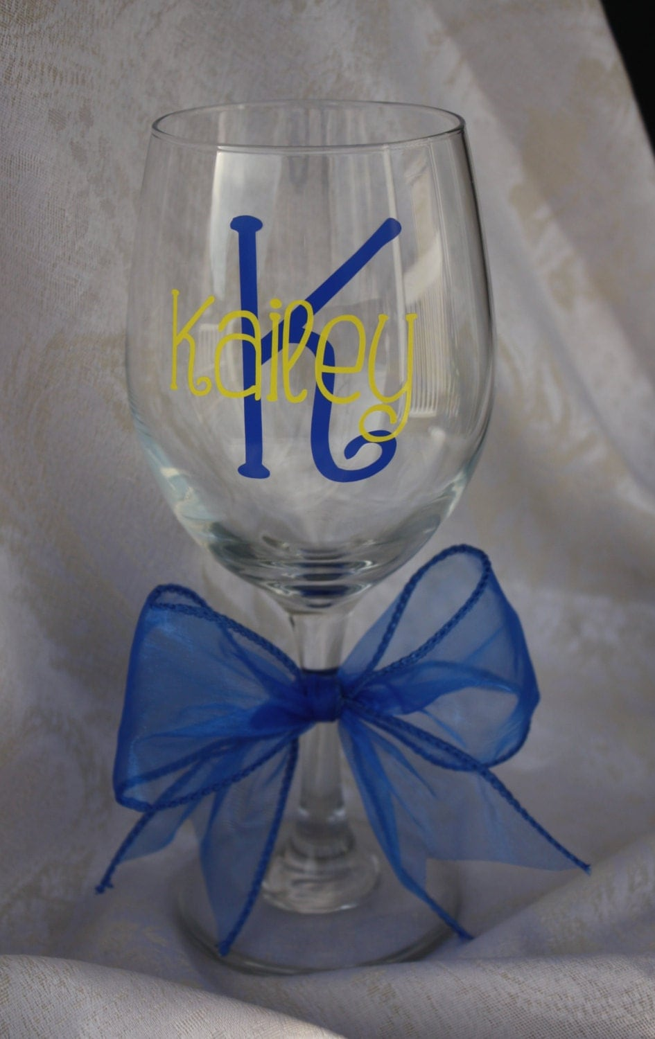Personalized Extra Large Wine Glass Initial In One Color