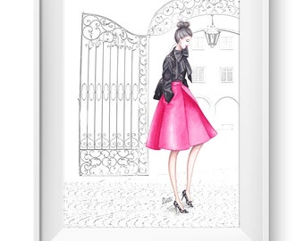 Fashion illustration print, Fashion art, girl art, watercolor - A Touch of Pink