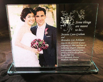 5x7 Glass Picture Frame, Engraved Picture Frame, Personalized Picture Frame, 5x7 Glass Frame, Wedding Invitation Frame, Engraved Glass Frame