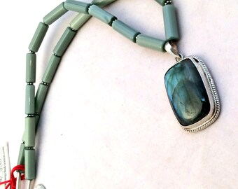 "17 or 25"" Labradorite Pendant Necklace. Sterling Silver, Sage Green Fiber Optic Cats Eye Glass,  free US ship 99.00 ea"