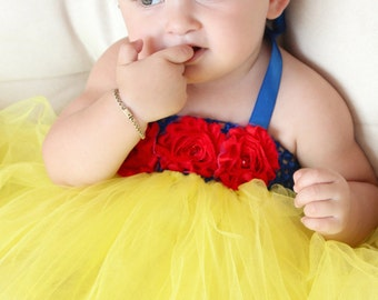 Beautiful Snow White Tutu Dress Costume with Red Hair Bow for Baby Girl 6-18 Months First Birthday Baby Snow White