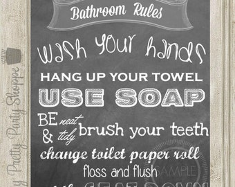 bathroom rules signs etsy. Black Bedroom Furniture Sets. Home Design Ideas