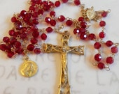 Rosary - Red Chinese Crystal Saint Mary Magdalene Rosary - 18K Gold Vermeil