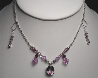 Genuine faceted Amethyst necklace with sparkle bead accents with earrings