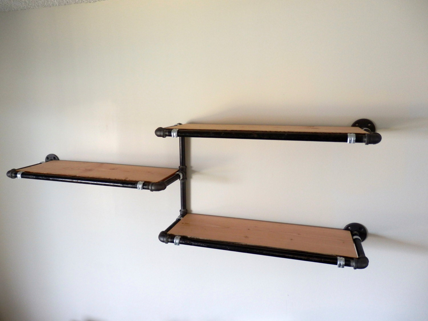 industrial pipe wall shelf with reclaimed by derekgoodbrand. Black Bedroom Furniture Sets. Home Design Ideas