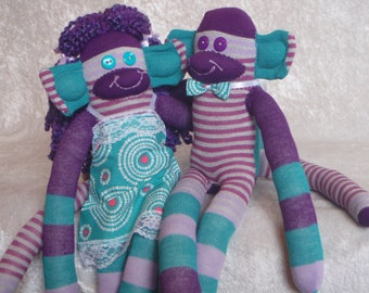 Sock Monkeys / Bride and Groom / Purple and Turquoise Wedding / Purple and Grey / Gifts for Couple / Anniversary Gift / Bridal Shower Gift