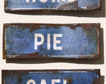 Miniature Dollhouse Vintage Inspired Tin Sign - Home, Bistro, Cafe, Pie (Blue)