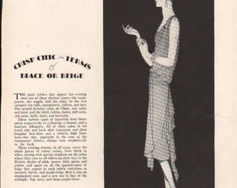 THREE FOR FOUR Art Deco era fashion print from Vogue magazine, front & back - fash 148