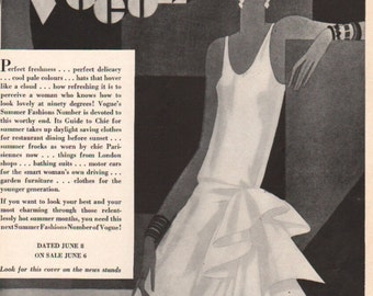 THREE FOR FOUR Art Deco era fashion print from Vogue magazine, front & back - fash 165