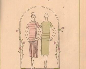 Vogue magazine color designs for dressmaking circa 1920s, 2-sided prints - fash 227