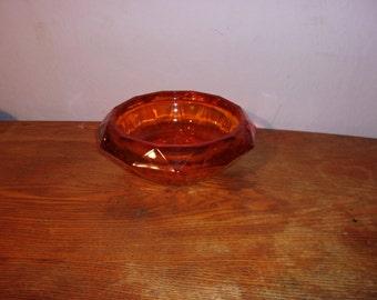 Decorative Bowl Amber Glass Glass Bowl Geometric Bowl Vintage Bowl Vintage  Dish Amber Dish Candy Bowl