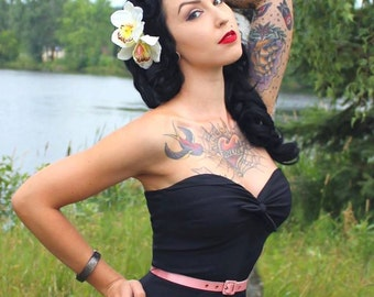 Cream Brown Rockabilly Pin Up double orchid hair flower clip fascinator