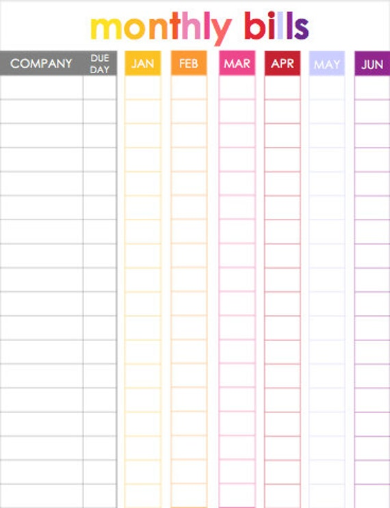 monthly bill tracker for use with erin condren life planner. Black Bedroom Furniture Sets. Home Design Ideas
