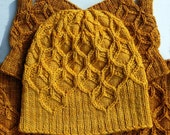Beeswax Set honeycomb cabled hat + cowl + mitts pattern (PDF Download)