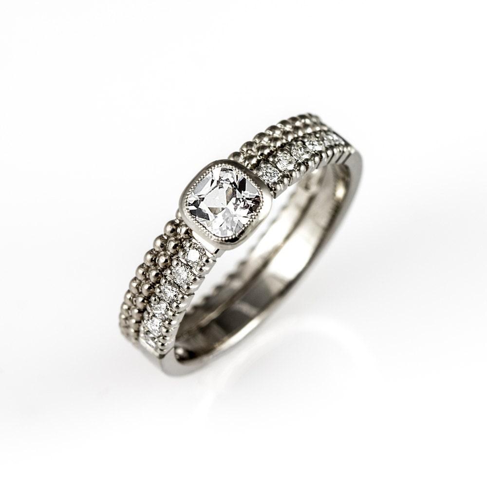 Wedding Ring Set Cushion Sapphire Engagement Ring Thin