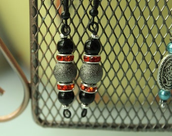 Red, Silver, and Black Dangle Earrings