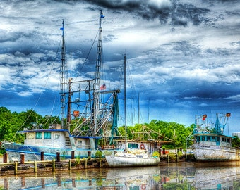 Louisiana Shrimp Boats on the Bayou, Landscape Photography, Lakes, Boats, Reflections, 4x6, 6x9, 8x12, 10x15