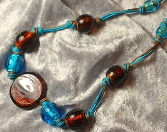 Bright Turquoise and Brown Necklace