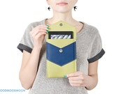 "Green Kindle cover case ""Indigo"", vegan leather sleeve"