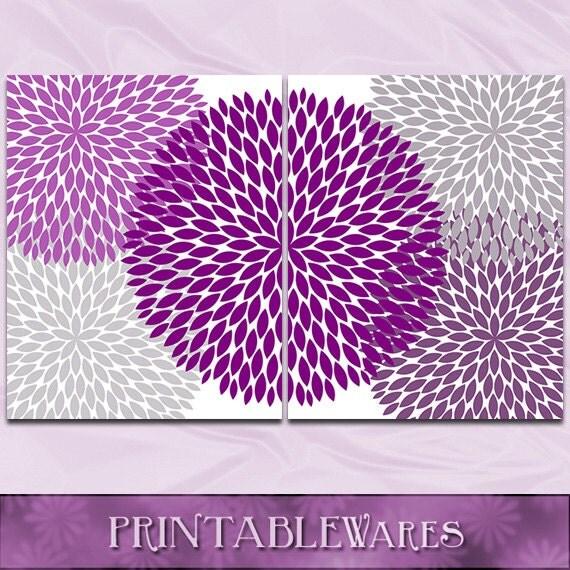 purple gray wall art plum chrysanthemum 8x10 set nursery. Black Bedroom Furniture Sets. Home Design Ideas