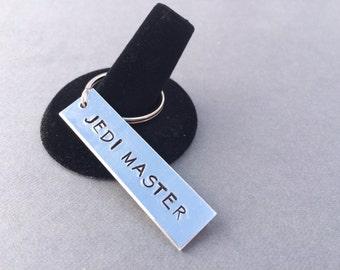 Jedi Master Star Wars Keychain Hand Stamped Aluminum Keychain