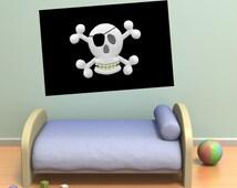 Wall decals pirate flag A296 - Stickers drapeau pirate A296
