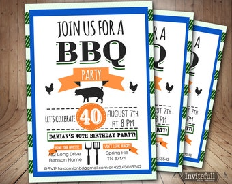BBQ Birthday Invitation,40th Birthday Invitation,Adult Birthday Invitation,Printable Invitation BBQ Party Invitation, 30th 50th birthday