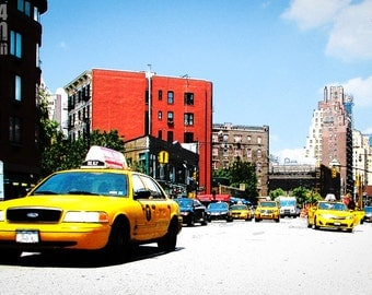 photography, street photography, New York, pop art, cab, taxi, lifestyle, street, urban, metro, downtown, high contrast, color, orange