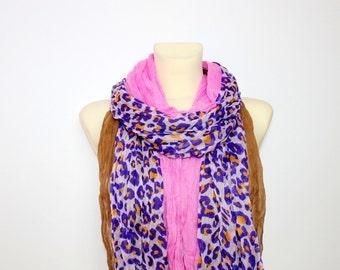 Pink and Purple Leopard Scarf - Animal Print Scarf - Leopard Print Scarf - Women Fashion Accessories - Gift Ideas for Her - Summer Autumn