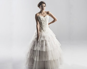 Lace and Tulle Strapless Wedding Dress in White or Ivory - Couture Wedding Gown