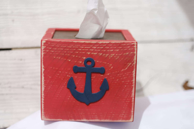 Rustic tissue kleenex box cover red beach ocean bathroom decor - Beach themed tissue box cover ...