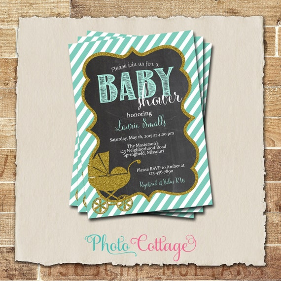 baby shower invitation glitter gold invitation vintage baby carriage