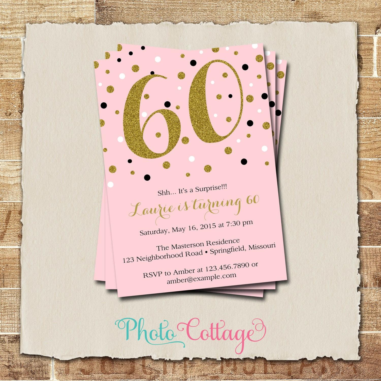 60th Birthday Invitation Gold Glitter Invitation Adult
