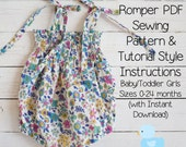 Shirred Romper PDF Sewing Pattern & Tutorial Style Instructions Baby/Toddler Girls Sizes 0-24 months (with Instant Download)