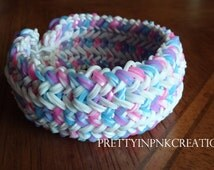 Cotton Candy Twist | Snake Belly | Rainbow Loom Rubber Band Bracelet