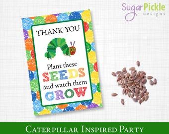 Caterpillar Seed Packets, Caterpillar Inspired, Seed Packet printable, Caterpillar Party Printable,
