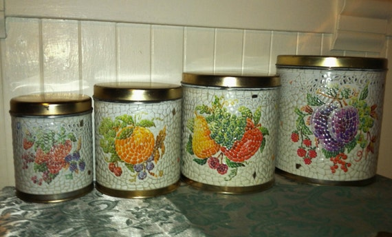 vintage kitchen canister set of mosaic tile fruits shabby