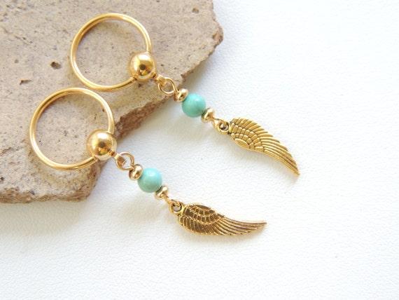 Angel wing nipple ring set of 2 gold nipple jewelry dangle for Angel wings nipple piercing jewelry