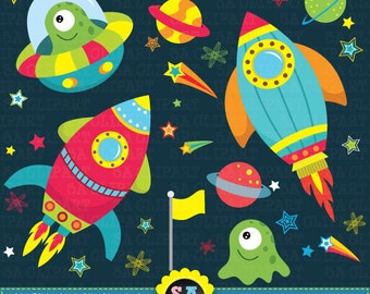 """Outer space clipart:""""OUTER SPACE"""" clip art pack,spaceship,planets,rockets,stars perfect for scrapbooking,invitations,party card Ca003"""