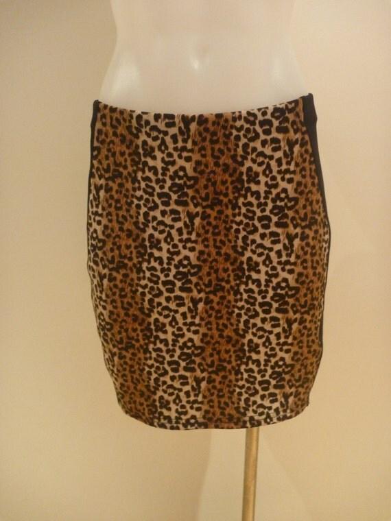 leopard print high waisted panel skirt