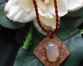 Subtly Textured Copper Pendant with Red Dyed Agate