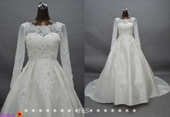 Satin Ball Gown Wedding Dress: Items Similar To Long Sleeve Wedding Dresses, Elegant Long