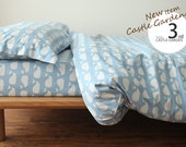 Blue Whale Pattern Cotton Duvet Cover Pillow Cases Sheet Bedding Set(Double Size and Single Size To Choose)